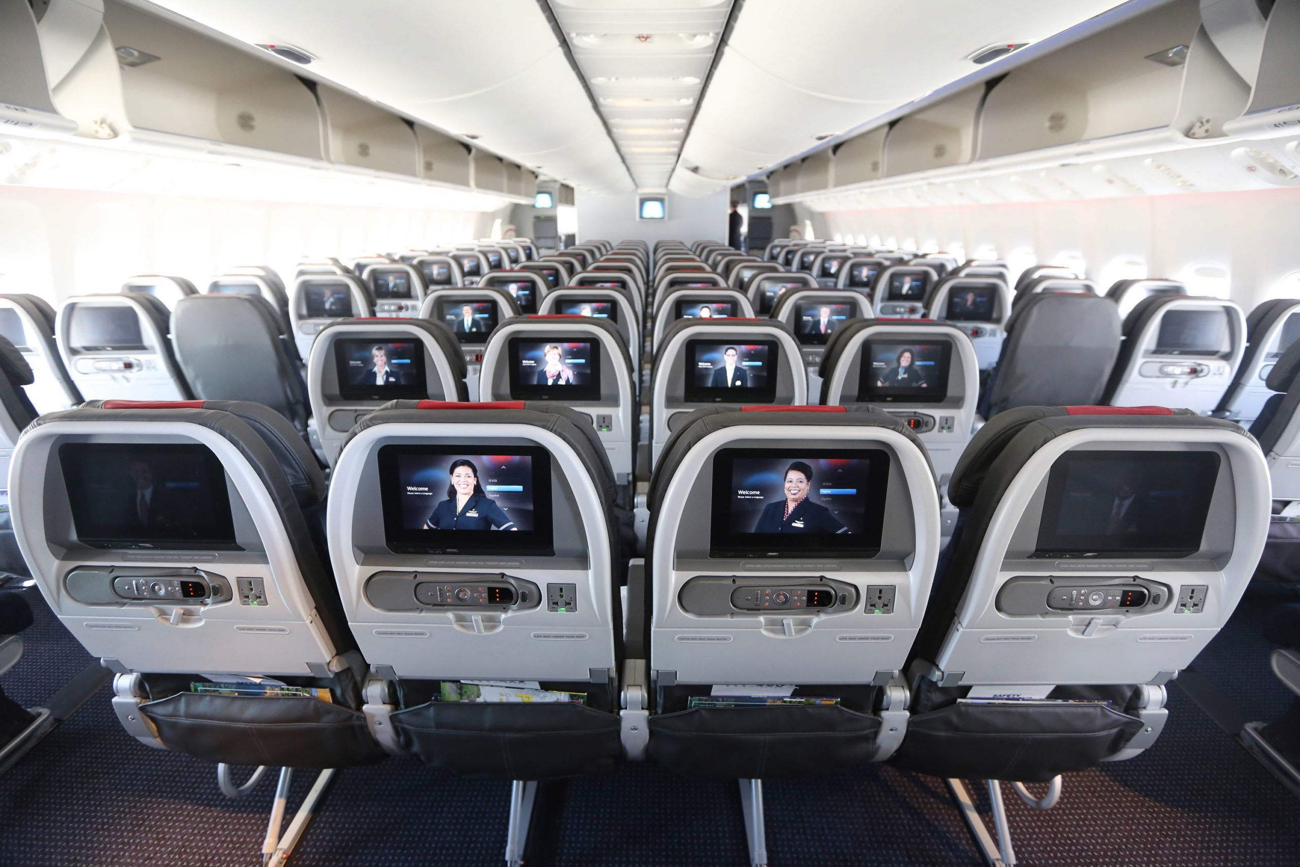 The main cabin of a American Airlines Boeing 777-300ER jet.