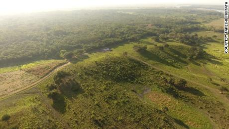 An aerial view of the southwestern part of the Aguada Fenix main plateau.