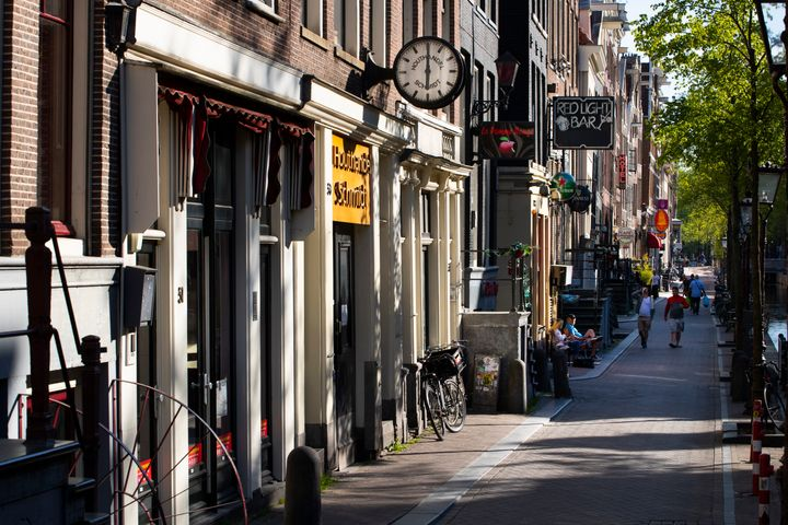 Amsterdam's red-light district is nearly deserted on April 24 after the Dutch government imposed regulations to prevent the s