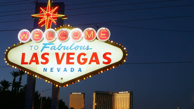 The famous sign welcomes motorists on the south end of the Las Vegas Strip.