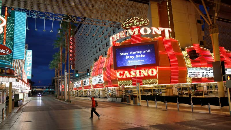 All by myself: A near-deserted Fremont Street, after casinos were ordered to shut down due to the coronavirus outbreak in March is an unusual site.