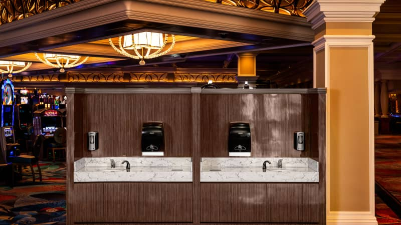 A mock-up of a hand-washing station on the casino floor at the Bellagio in Las Vegas offers a glimpse at what visitors can expect.