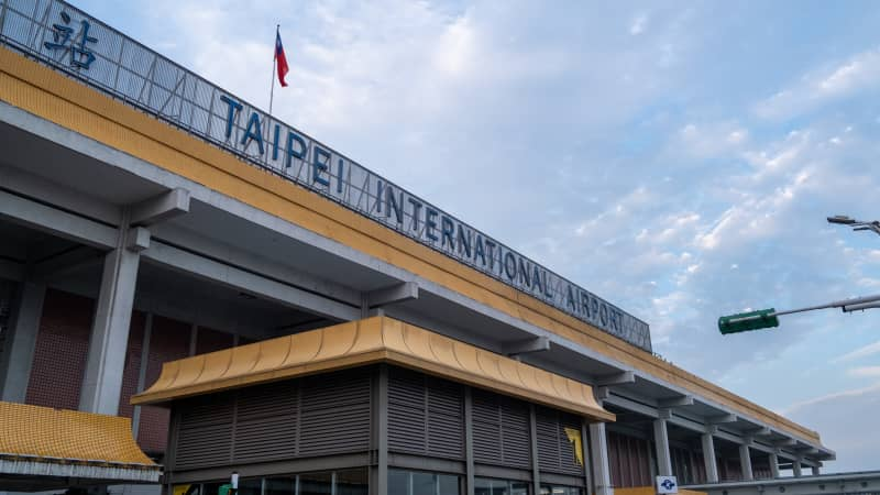 A view of Taipei's Songshan International Airport logo in January.