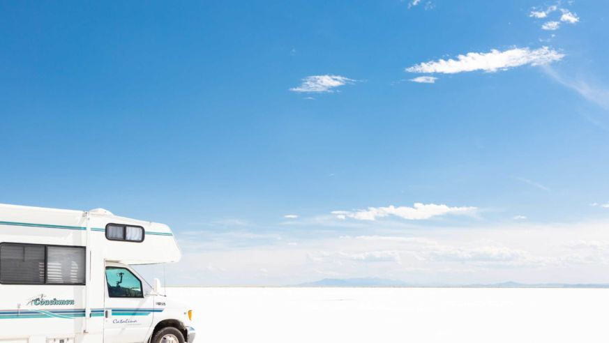 RV at Bonneville Salt Flats