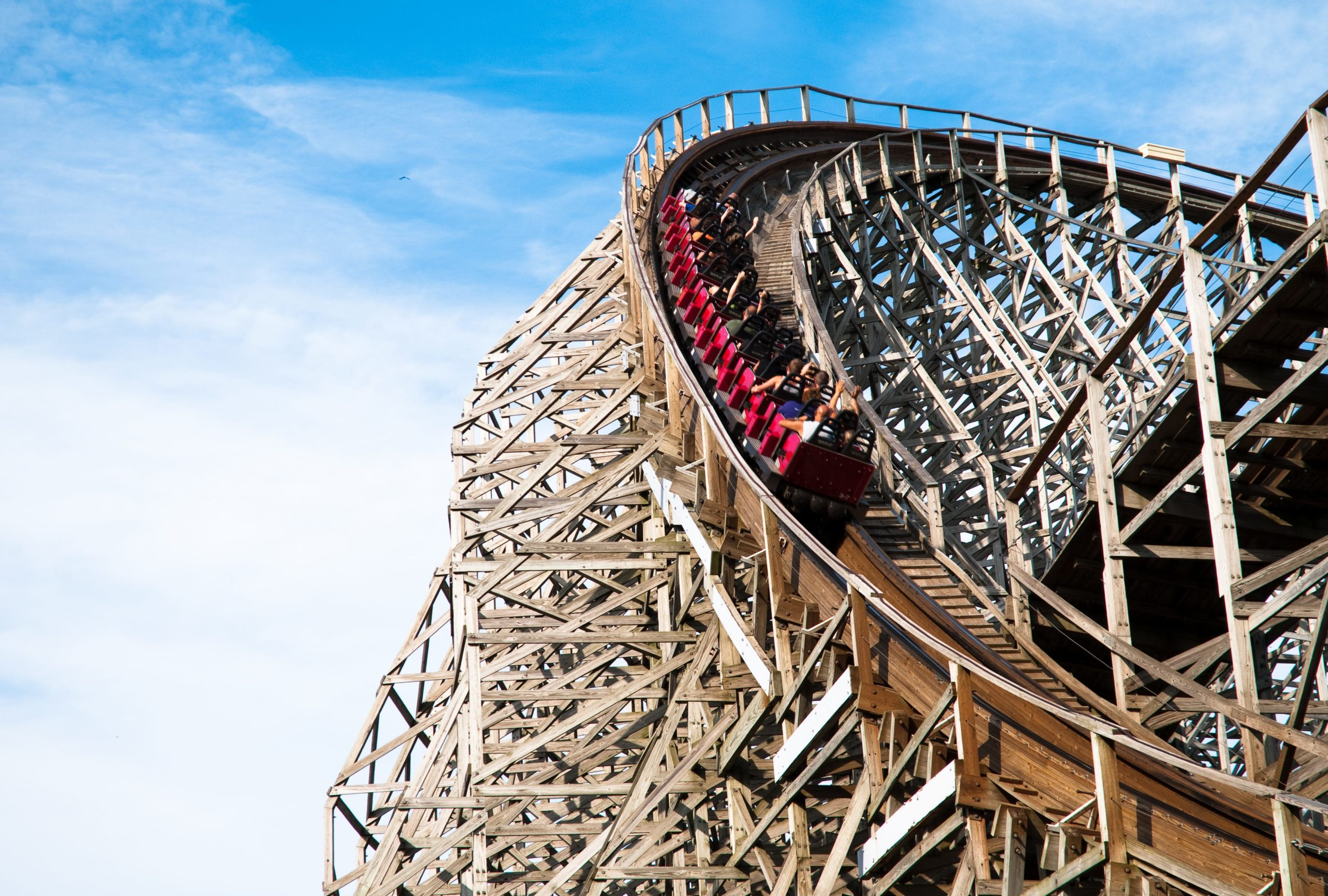 Classic roller coaster with people at Cedar Point, Sandusky, Ohio