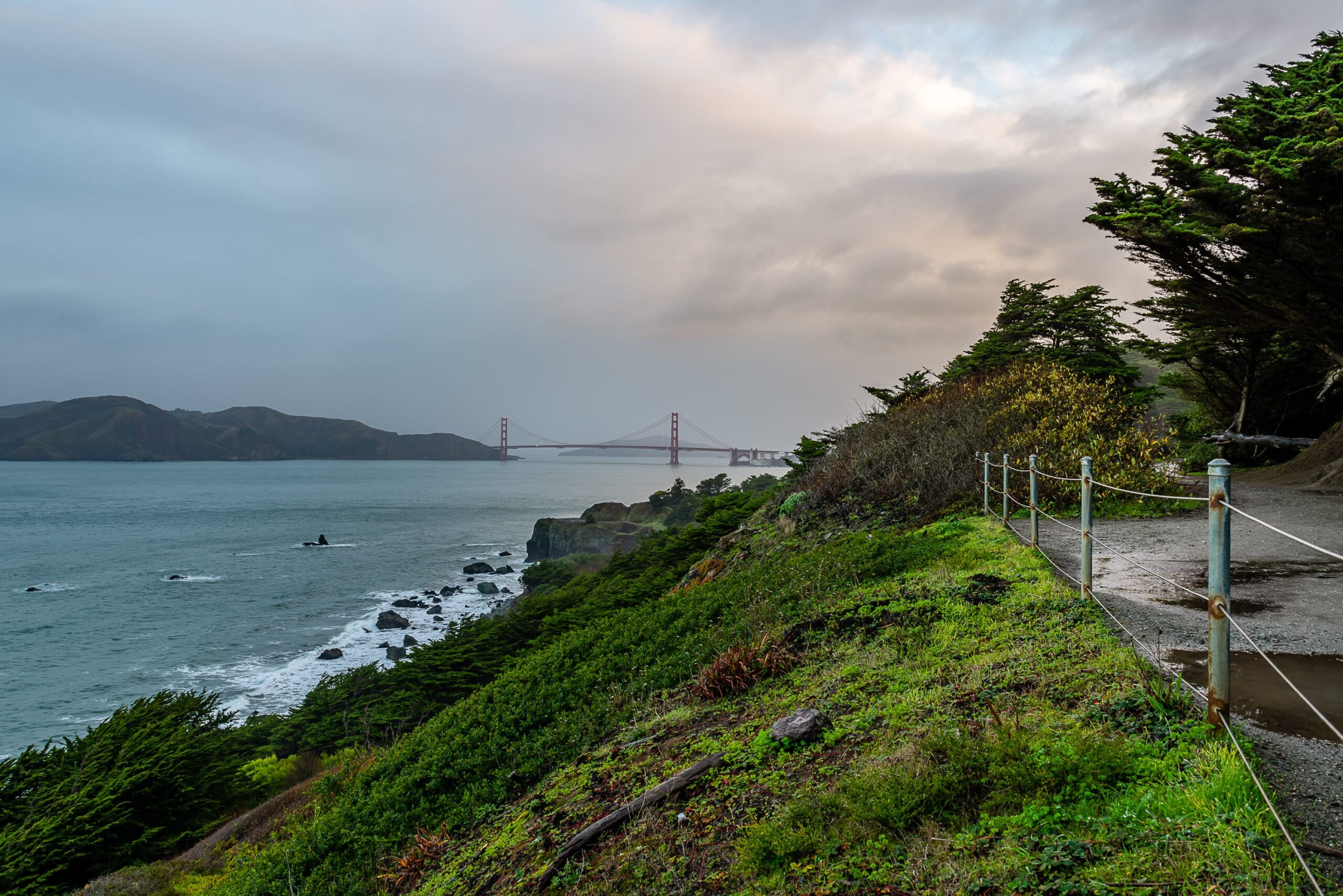The Lands End Labyrinth and the Coastal Trail along the San Francisco coastline on a cloudy day