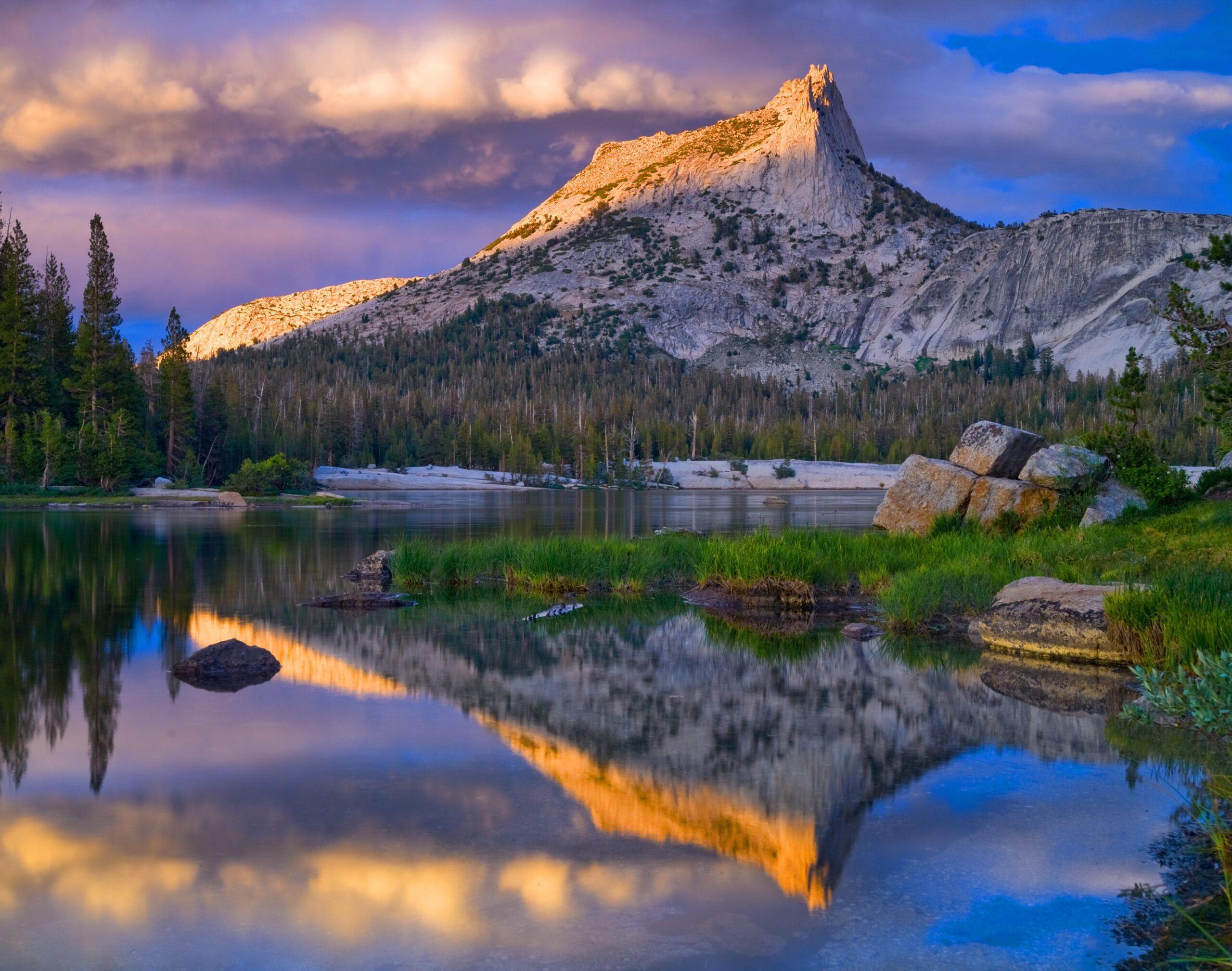 Cathedral Peak and Lake. Yosemite National Park.
