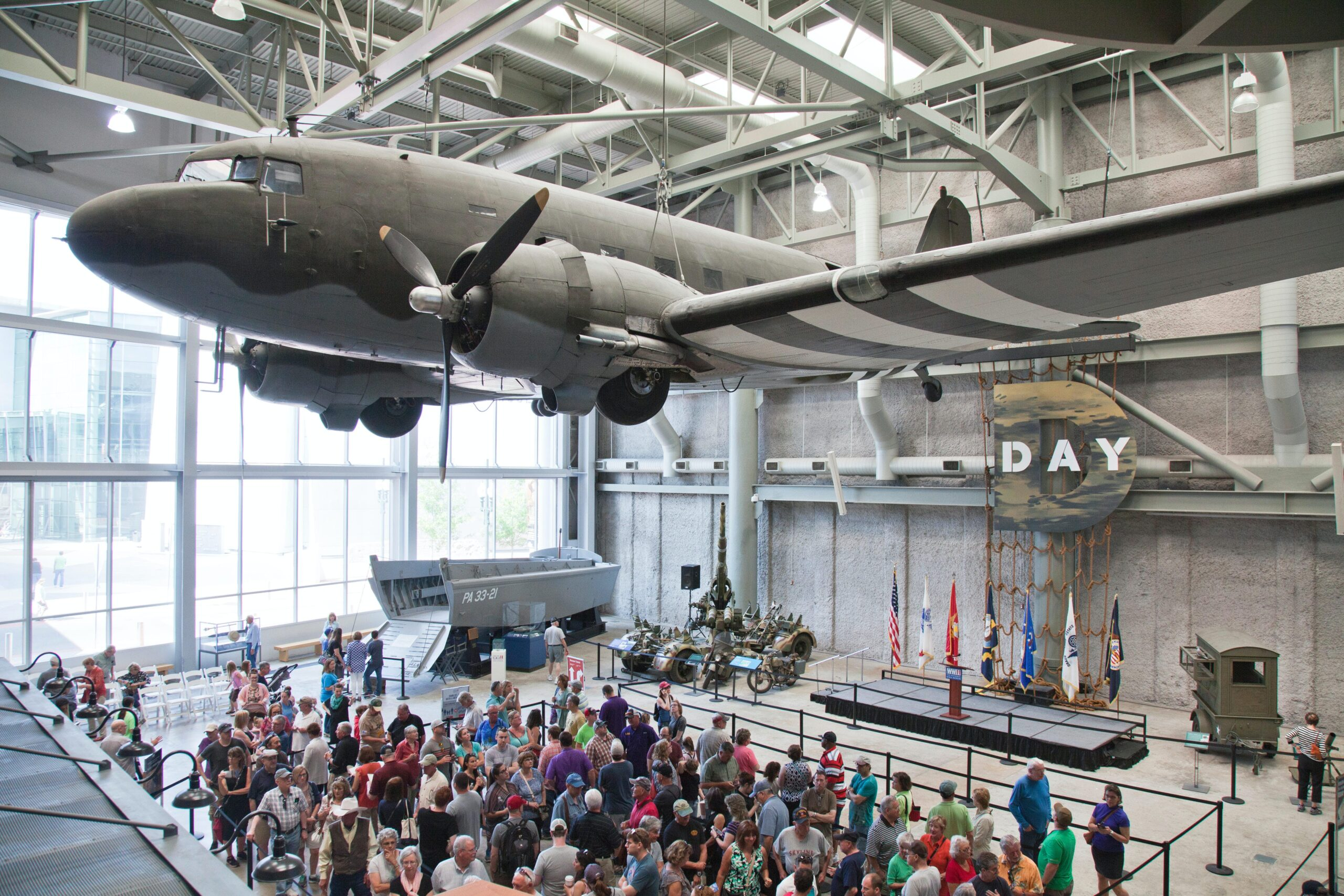 Louisiana Memorial Museum Atrium is the entry area for the The National World War II Museum, New Orleans, Louoisiana. Floor displays include the Higg