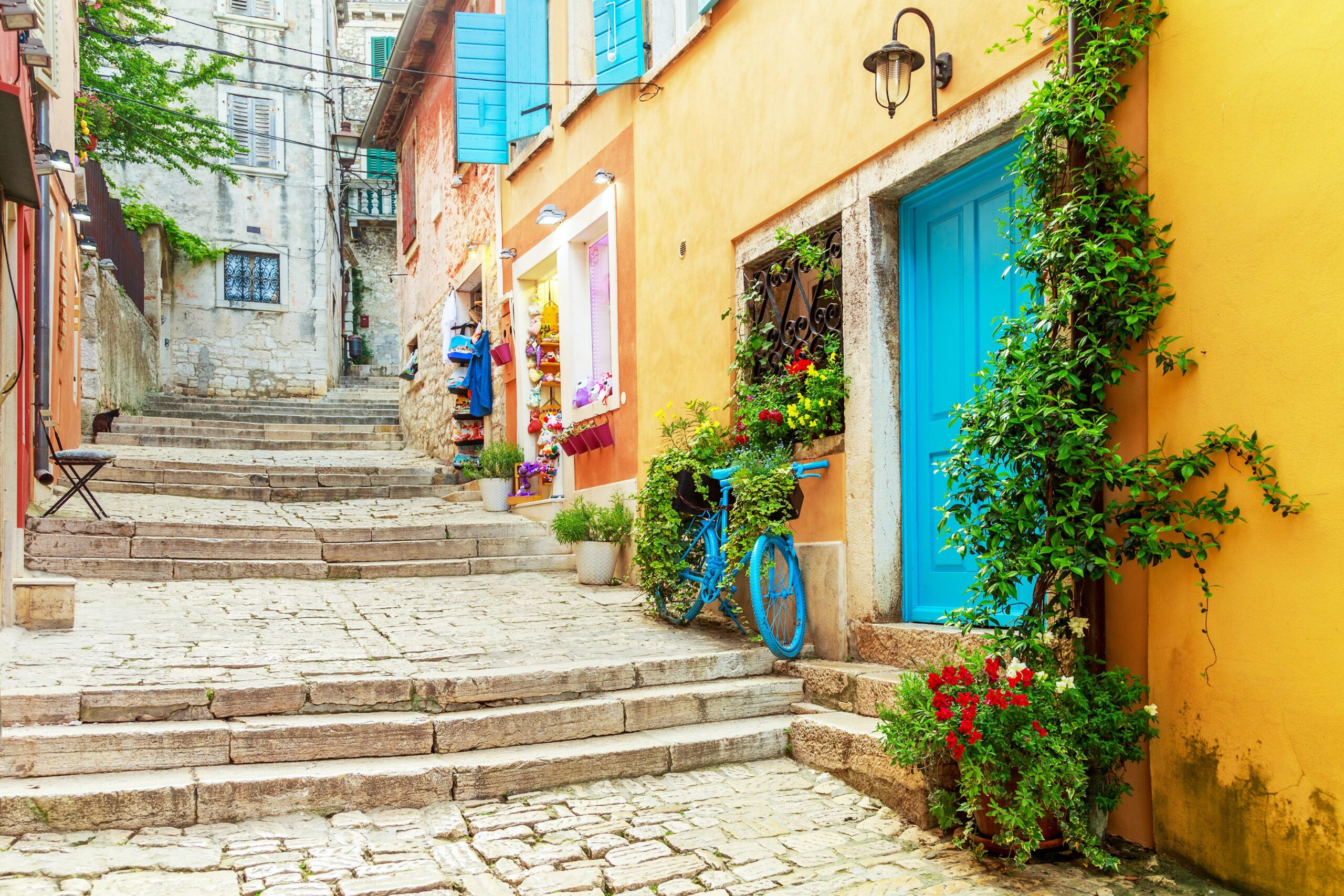 Laneway at Rovinj with colourful building facades